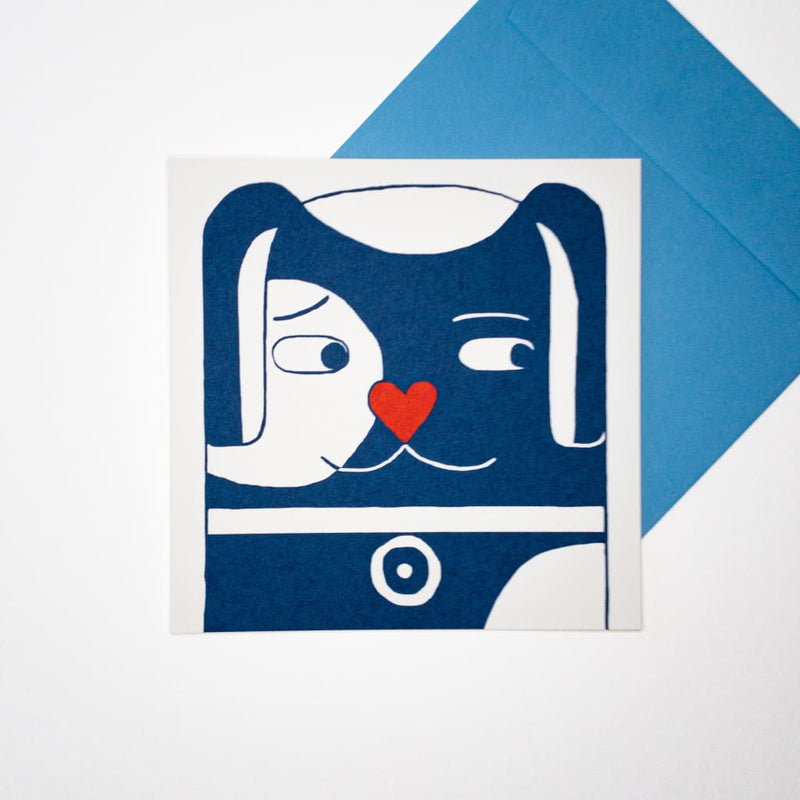 Love Pup. Hand printed Greeting Card - Cards Japanese Stationery