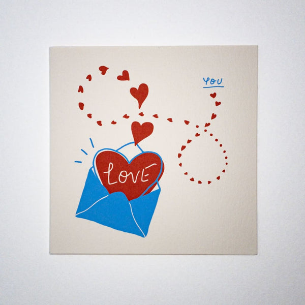 LOVE YOU. Hand printed Greeting Card - Cards Japanese Stationery