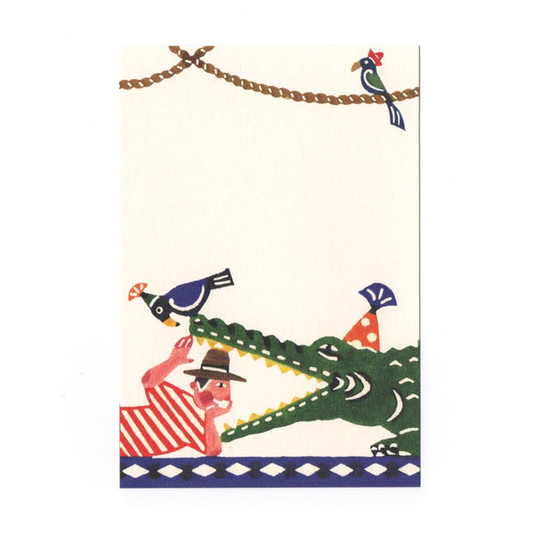 Man & Crocodile Katazome Postcard - Cards Japanese Stationery