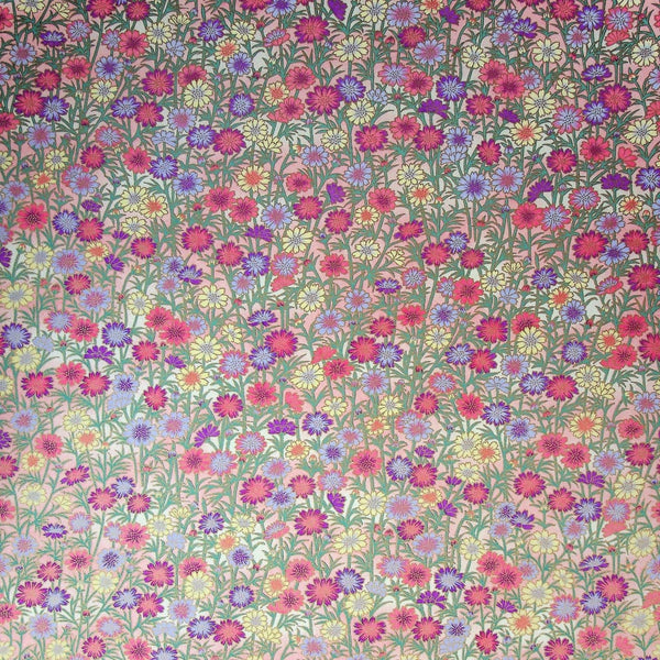 Meadow Flowers Printed Handmade Paper - 470mm x 620mm - paper Japanese Stationery