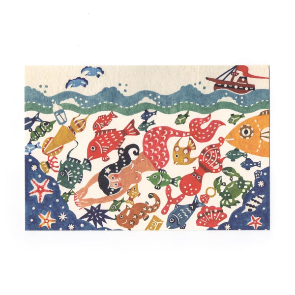 Mermaid & Fish Katazome Postcard - Cards Japanese Stationery
