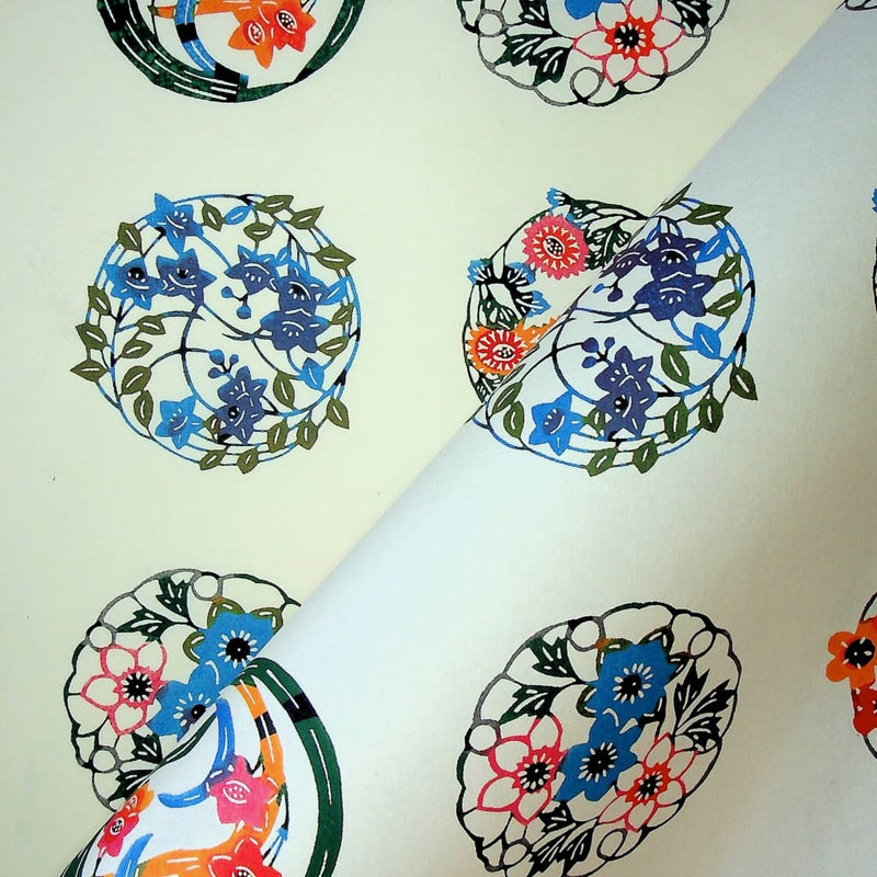 Multi Coloured Floral Circle Print - 470mm x 620mm - paper Japanese Stationery