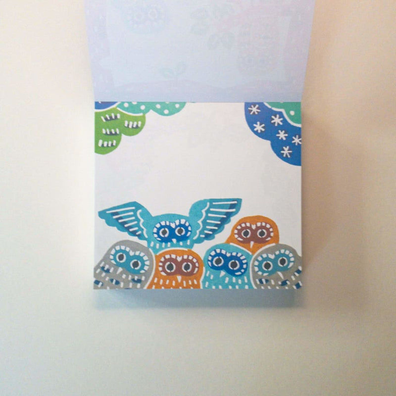 Owl Katazome Print Memo Block Pad. 120 Sheets - Notebooks Japanese Stationery