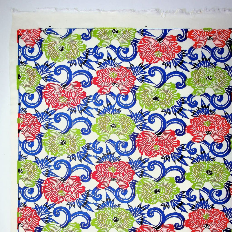 Peony Red & Green Flower Print - 470mm x 620mm - paper Japanese Stationery