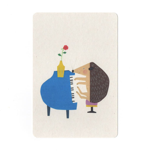 Piano Hedgehog Collage Print Postcard - Cards Japanese Stationery
