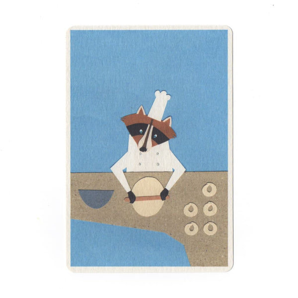 Raccoon Baker Collage Print Postcard - Cards Japanese Stationery