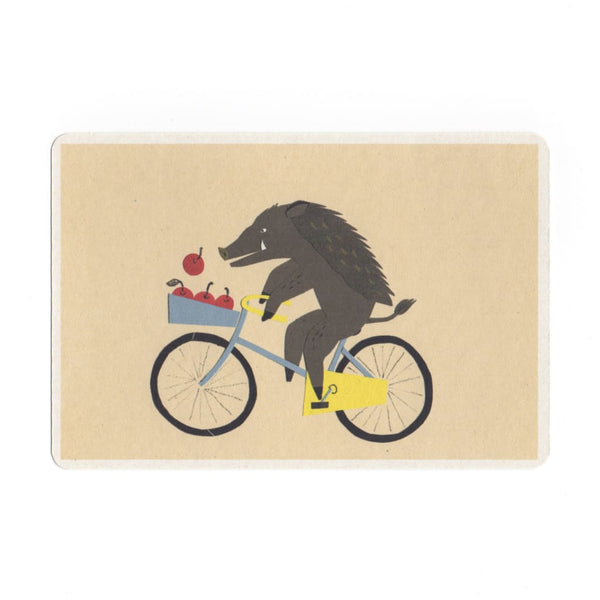 Riding a Bicycle Collage Print Postcard - Cards Japanese Stationery