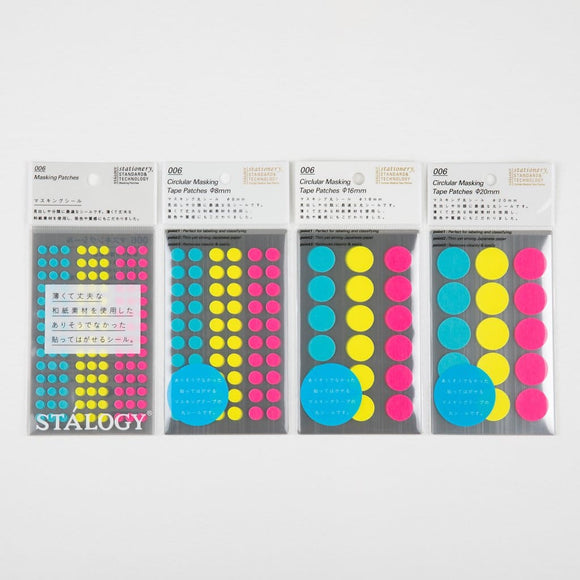 Stalogy Masking Dots NEON stickers - Japan Stationery Japanese Stationery