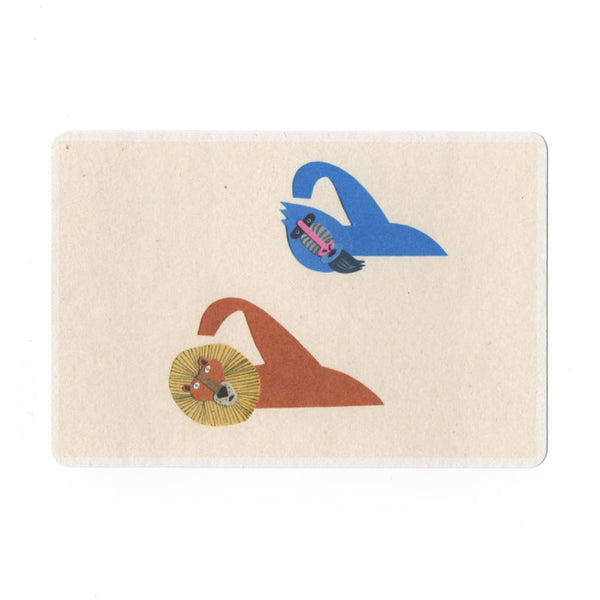 Swimming Collage Print Postcard - Cards Japanese Stationery