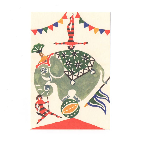 The Circus Elephant Katazome Postcard - Cards Japanese Stationery