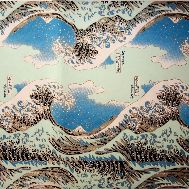 The Great Wave off Kanagawa Blue Printed Paper - 470mm x 620mm - paper Japanese Stationery