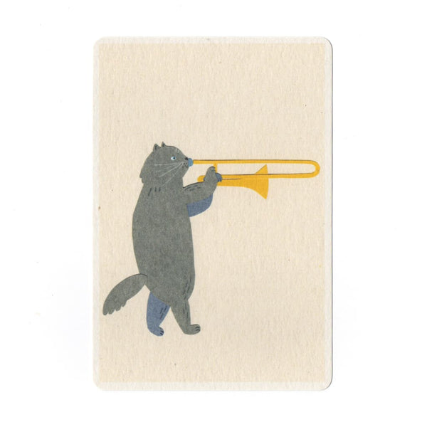 Trombone Cat Collage Print Postcard - Cards Japanese Stationery