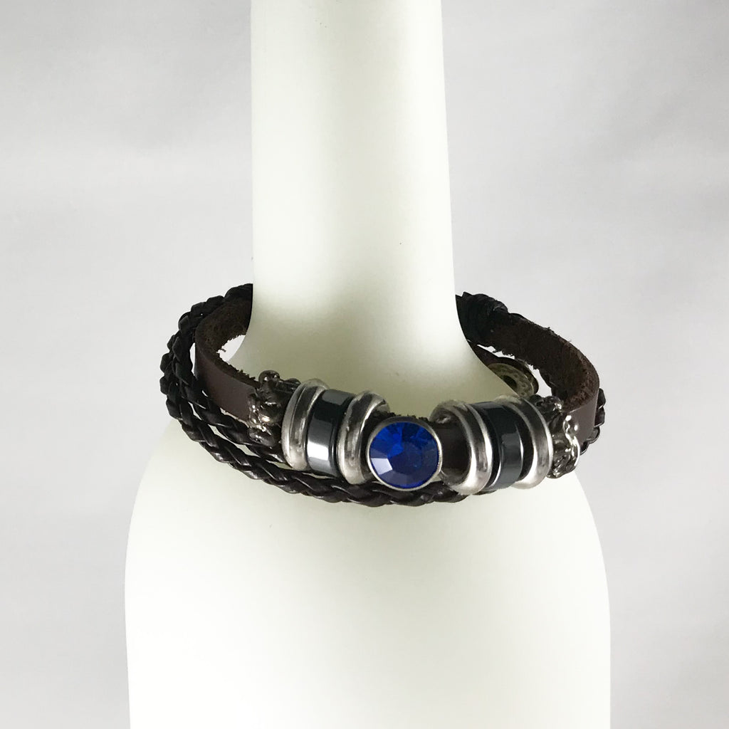 Leather Bracelet Crystal Bead