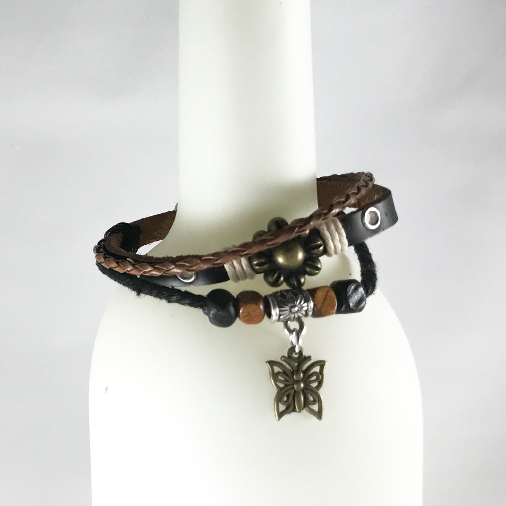 Leather Bracelet Small Flower-Butterfly