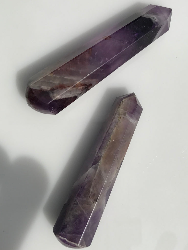 Black Amethyst Faceted Wand