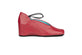Classic cherry red leather shoes with elastic detailing and built in wedge