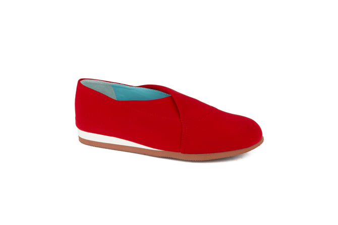 FLAME RED Microfiber slip-on shoes