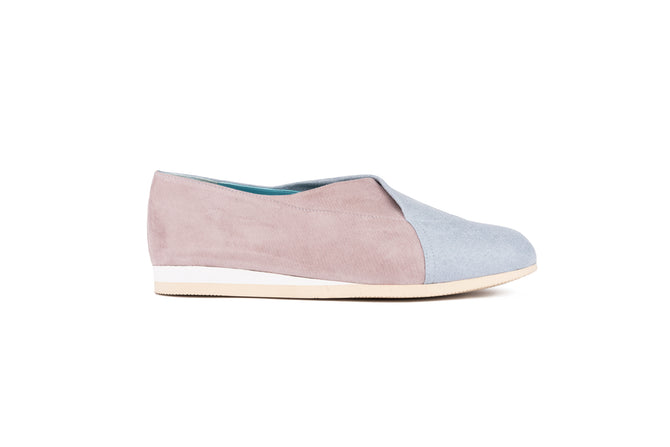 PASTEL PINK AND BLUE Microfiber slip-on shoes