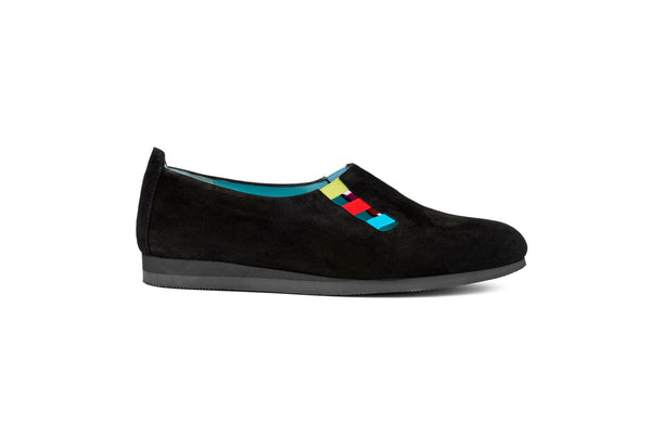 BLACK SUEDE AND COLORED ELASTIC COMBINATION