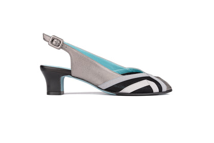 Slingback silver leather pumps with peep toe design and geometric decoration