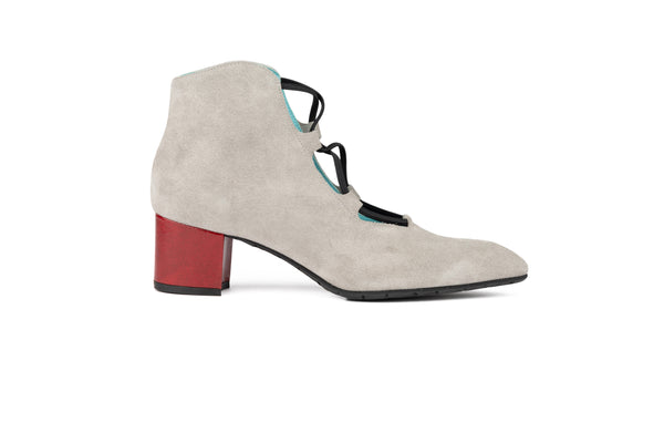PERLIZED SUEDE AND RED PATENT