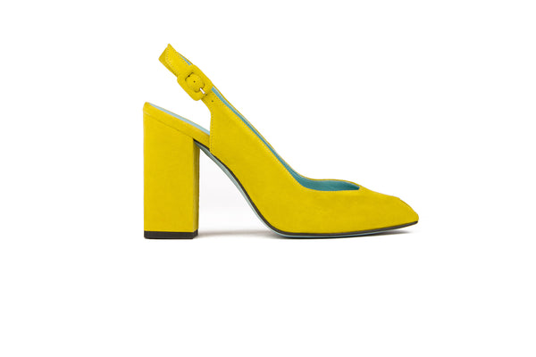 Heeled yellow mustard suede sandals with slingback and open toe desing