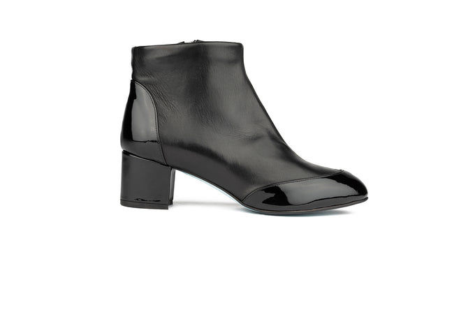 BLACK STRETCH NAPPA AND PATENT COVERED HEEL