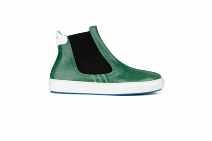 High top green leather sneakers by Fifty-12