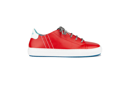Lace-up sneakers in red leather
