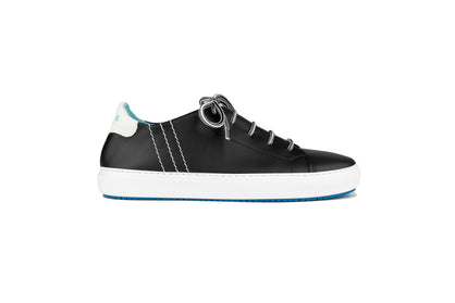 Lace-up sneakers in black and white leather