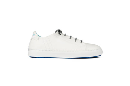 Lace-up sneakers in white leather
