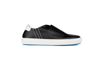 Slip-on sneakers in black leather with elastic detail