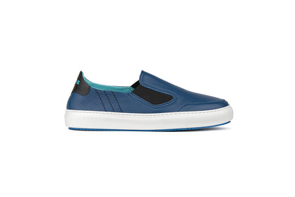 Loafer style sneakers in blue leather