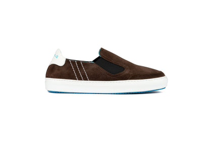 Slip-on sneakers in brown suede