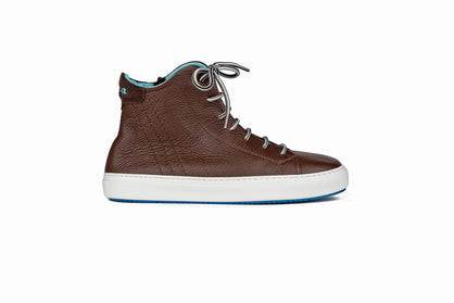Lace-up high top sneakers in brown leather