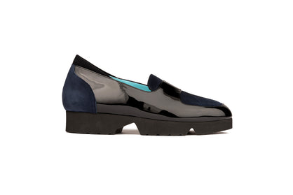 BLACK PATENT AND BLUE SUEDE