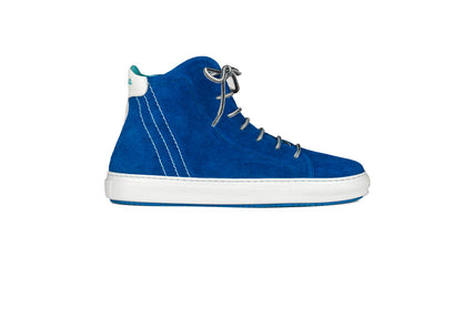 Lace-up high top sneakers in blue suede