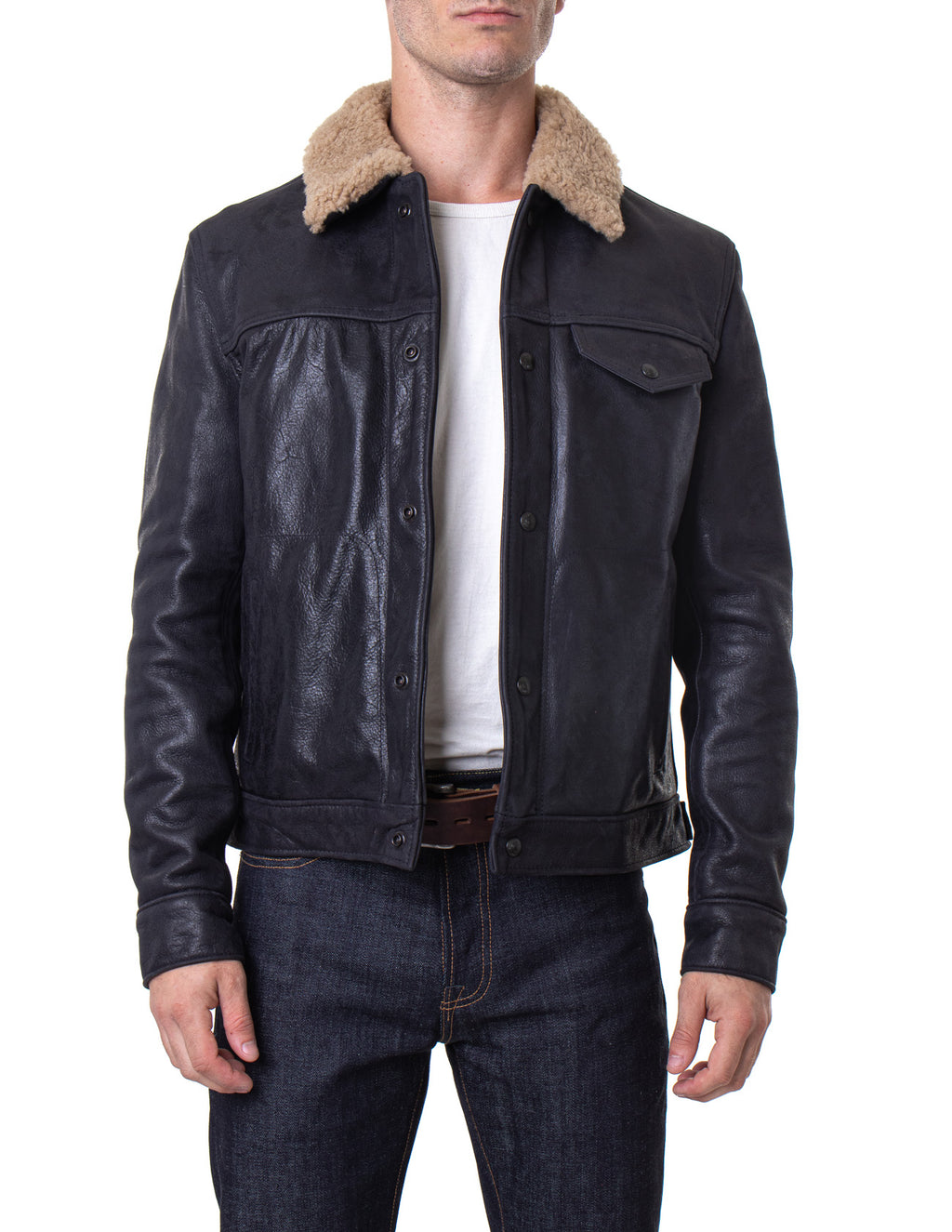 Schott NYC - Buffalo Leather Trucker Jacket W/ Sheepskin Collar