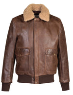Schott NYC - Naked Buffalo Bomber Jacket W/ Sheepskin Collar