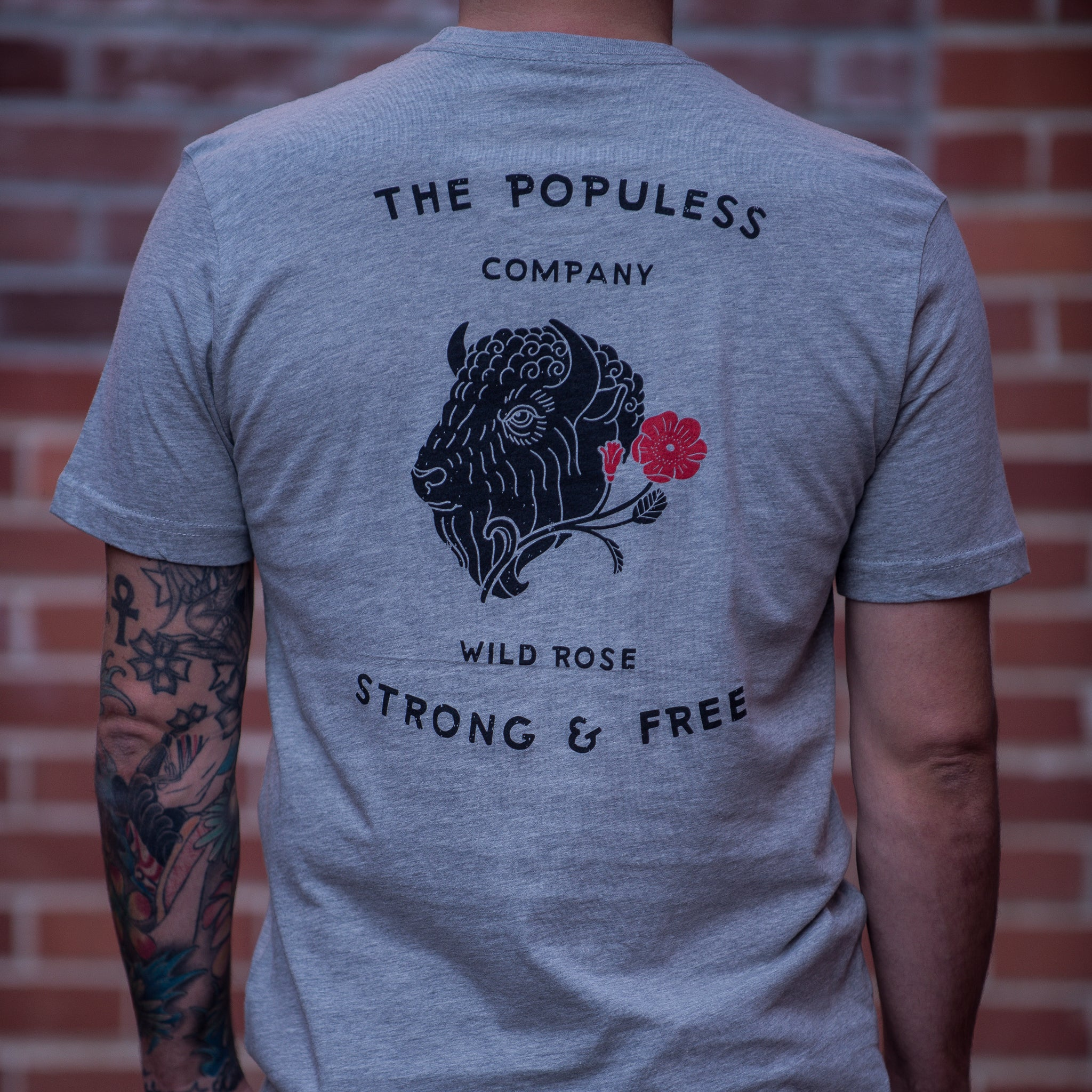 Wild Rose Bison Tee - Heather Grey - The Populess Company