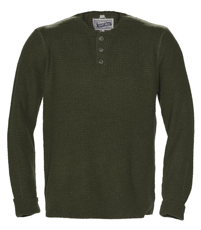 Schott NYC - Button Henley Sweater - Moss