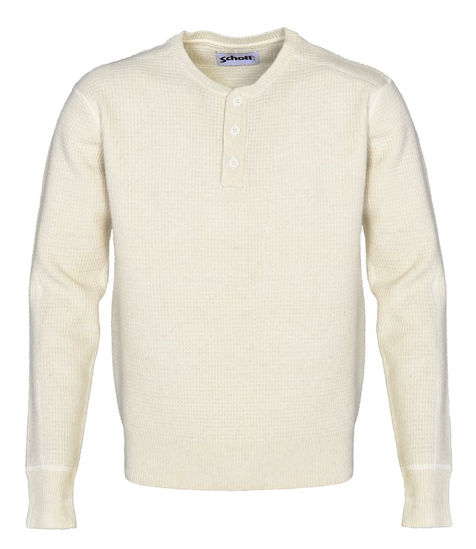 Schott NYC - Button Henley Sweater - Off White