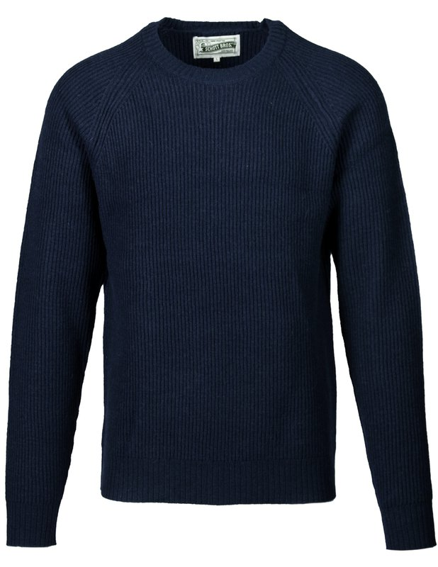 Schott NYC - Ribbed Wool Crewneck Sweater - Navy