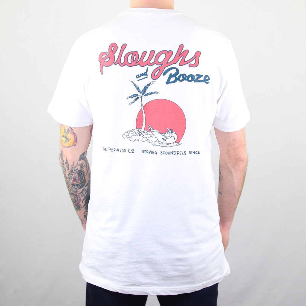 Sloughs & Booze Tee - White - The Populess Company