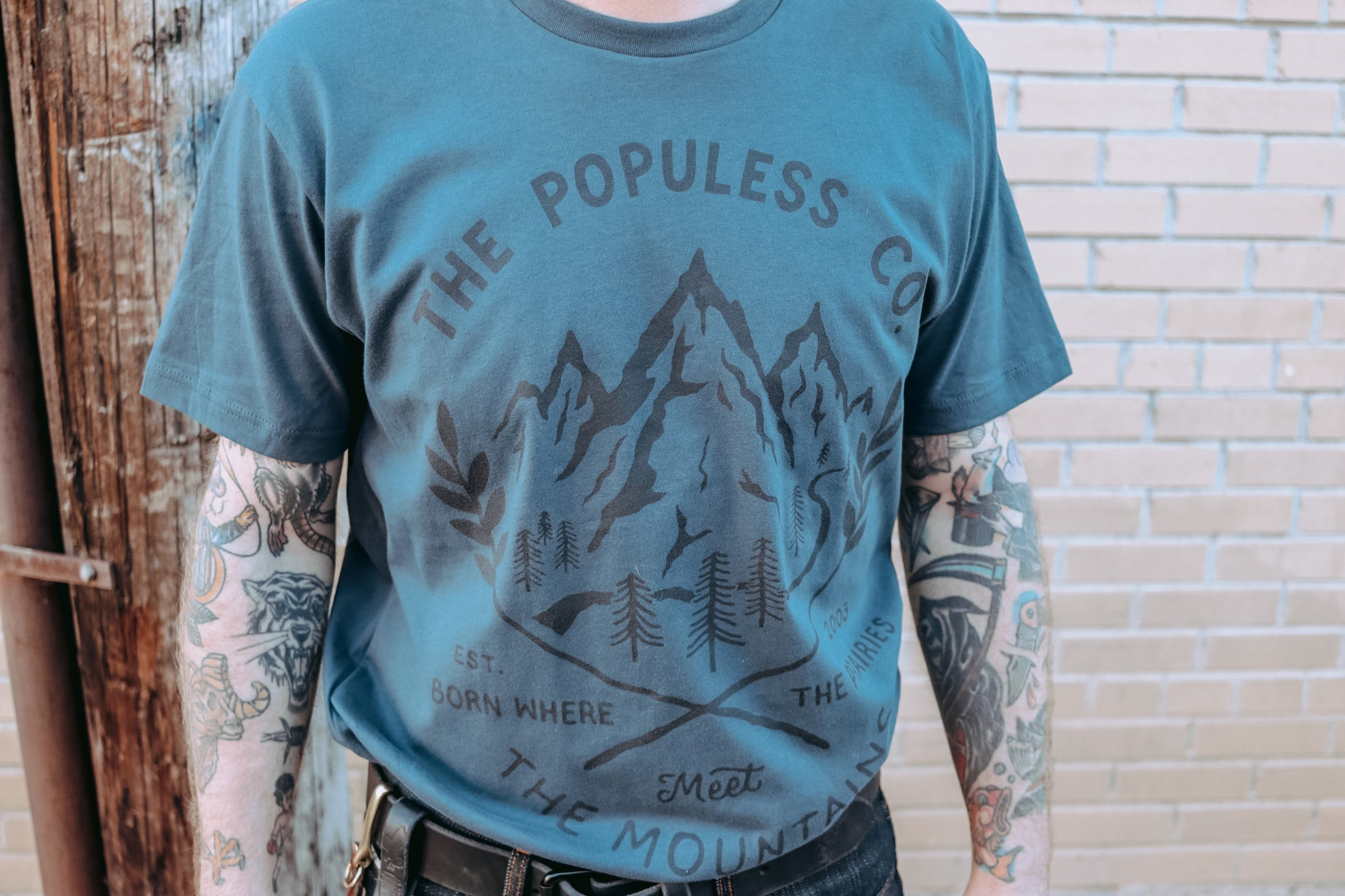 The Populess Co. - Rockies Tee - Steel Blue