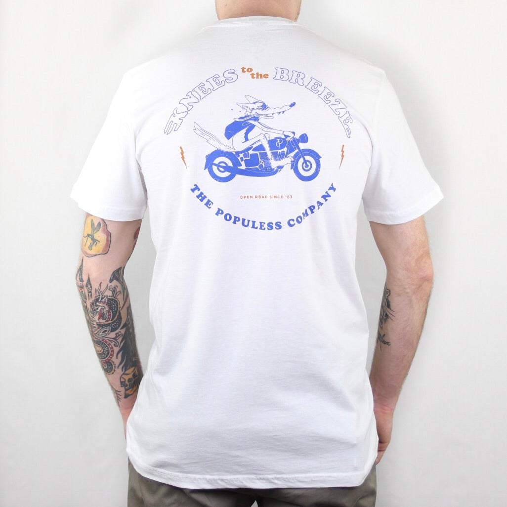 Knees To The Breeze Tee - White/Cobalt - The Populess Company