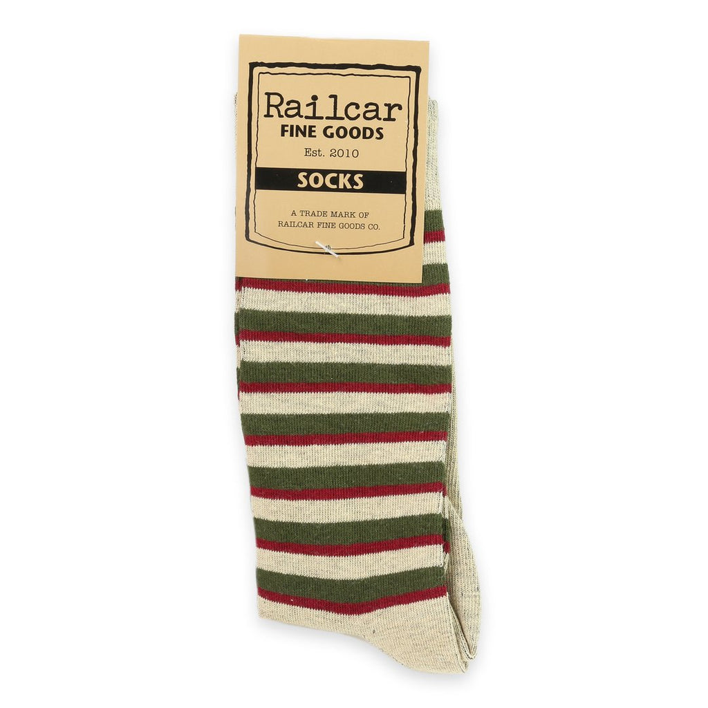 Railcar Fine Goods - Tan Stripe Socks - The Populess Company