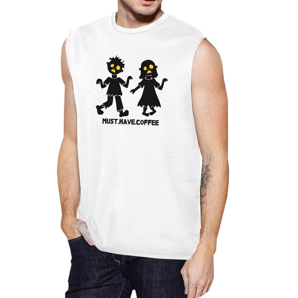 Must Have Coffee Zombies Mens White Muscle Top
