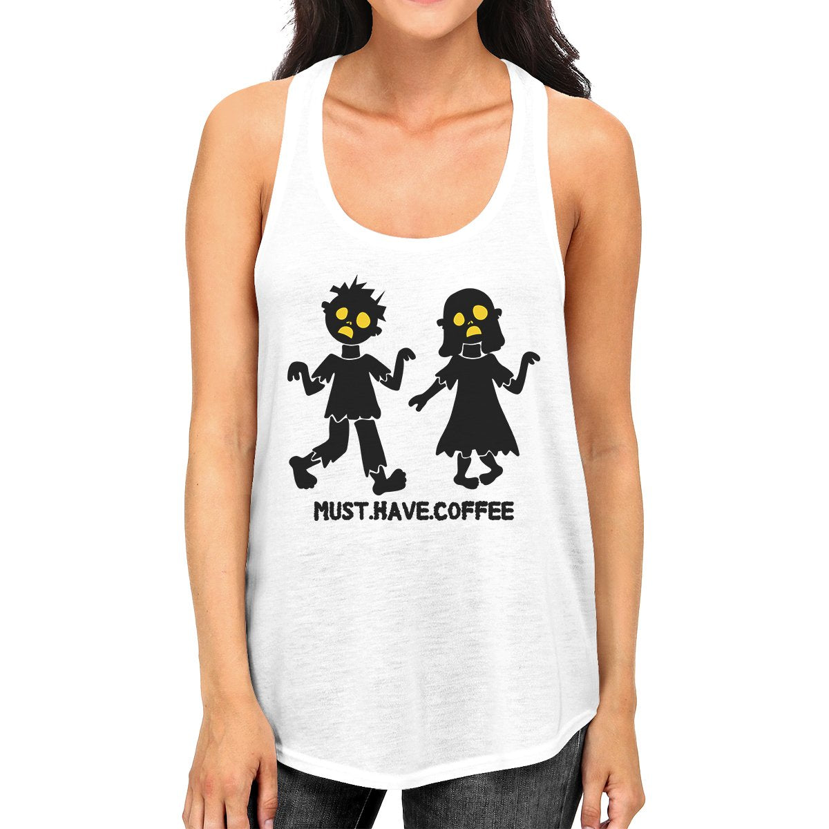 Must Have Coffee Zombies Womens White Tank Top