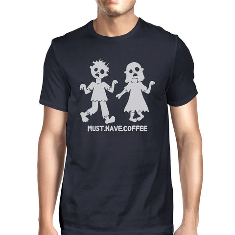 Must Have Coffee Zombies Mens Navy Shirt